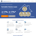 Variable Home Loans 2.17% p.a. (LVR ≤ 70%) / 2.39% p.a. (LVR ≤ 80%) Variable Rate /w Offset @ FreedomLend
