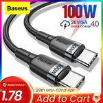 Baseus Type C cable 60W 0.5m for $1.78 and 100W 0.5m/1m for $4.49/$5.29 @ Aliexpress
