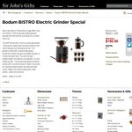 Bodum BISTRO Electric Grinder Special! Only $150.00 PLUS Bonus Gifts!