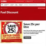 Coles New Year Fuel Offer - Save 25c/L (at Coles Express) When You Spend $100 or More (at Coles)