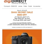 Sony A7 $1,048 / Sony A7R $1,489 / Sony A7S $1,935 after Cashback from digiDIRECT