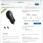 eBay Group Deals: Google Chromecast $31 + Free Shipping @ Bing Lee