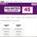 TPG - 4G Mobile Plans Unlimited Calls & Text 1GB $30/Month, 2GB $35/Month
