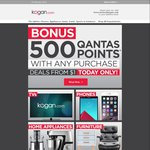 500 Qantas Frequent Flyer Points at Kogan With Selected $1+ Purchases