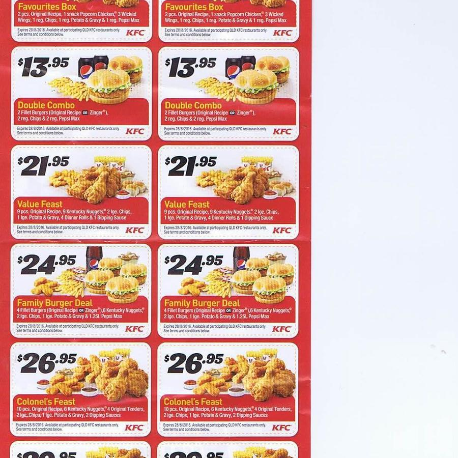 *Not valid with any other special offer or coupon. Limit one offer per coupon. Not available at KFC Auckland Airport, International Terminal. Set combinations apply. Non .