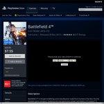 PS Store: Battlefield 4 @ $7.55 or Bundle Pack (BF4 & Hardline) $13.45