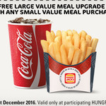 Hungry Jack's - Free Large Value Meal Upgrade with Any Small Value Meal Purchase - Ends 31st Dec (Printable Voucher)