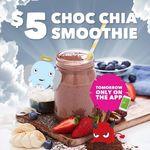 Boost Juice Choc Chia Smoothie $5 via App on Tuesday 21/3
