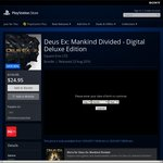 Deus Ex: Mankind Divided - Digital Deluxe Edition @ AU PSN for $24.95 or Standard Game Only for $17.95