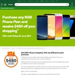 Woolworths Mobile - $480 off Your Shopping (4000 Points ($20) Per Month X 24 Months) with Any 8GB Phone Plan Purchase