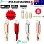 3x Pack I-SLING Nylon Braided Lightning, Micro USB and Type C Cables for $9.99 Shipped (RRP $36) @ ozsupplycentre on eBay
