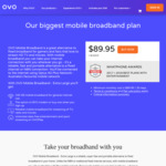 OVO 150GB Mobile Broadband $89.95/30 Days