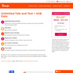 Yomojo - Prepaid Unlimited Talk and Text + 4GB Data for $14.95 Per Month, for the First 3 Months (Normally $29.90)