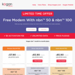 Free Modem with NBN 50  $65.90 Per Month (No Contract) @ Kogan