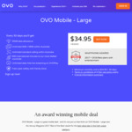 OVO Mobile: Large Prepaid Mobile Plan 50GB $34.95 Per 30 Days