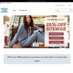 25% off All Stock (Free Shipping on Orders of $120+) @ TOMS Australia
