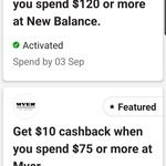 CommBank Rewards: $10 Cashback with $75 @ Myer, $30 Cashback with $120 @ New Balance