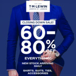 [VIC] 70-90% off Storewide: 1 Suit $175.50, 2 Suits $315, 3 Suits $450 In-Store Only @ T.M Lewin (Melbourne)
