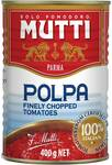 Mutti Finely Chopped Tinned Tomatoes 400g $1 @ Woolworths