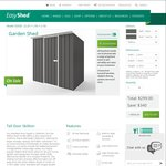 2.25m X 1.5m Skillion Roof Shed in Grey $299 @ EasyShed. 400+ Free Depot Locations or $80 Home Delivery. OzBargain10 Sale