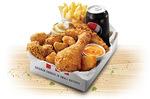 KFC $12.95 Hunger Buster Box: 4 Nuggets, 3 Wicked Wings, 2 Tenders, 1 Pc Chicken, 1 Reg Chips, 1 Reg Potato & Gravy, 1 Reg Drink