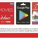 10% off Selected Gift Cards - Google Play, Event Cinemas, Red Balloon & Typo @ Coles