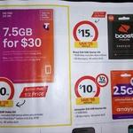 Telstra $30 Starter Kit 7.5GB $10, Boost $40 Starter Kit 15GB $15 @ Coles