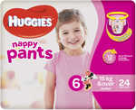 Huggies Nappy Pants for Girls & Boys 15kg or over Junior 24 Pack $8 (Was $16) @ Big W