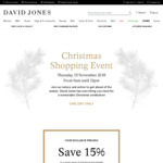 15% off Full-Priced and Already Reduced Women's, Men's and Kids Fashion, Shoes and Accessories @ David Jones