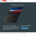 Lenovo ThinkPad X1 Extreme Gen 2 Notebook Intel Core i7-9750H 8GB RAM & 256GB SSD for $2239.30 Delivered @ Lenovo