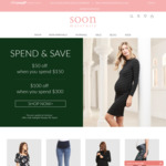 Get $50 off When You Spend $150 or Get $100 off When You Spend $300 @ Soon Maternity