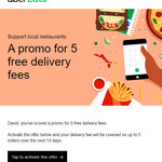 5 Free Deliveries (No Minimum) @ UberEATS