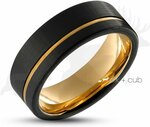Mens Black & Gold Tungsten Wedding Ring $179 (Was $299) + Free Shipping @ Elk and Cub