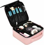 """Pink PU """"Leather"""" Makeup Bag Travel Cosmetic Bag $35.99 Delivered (Was $55.99) @ luckyjlt via Amazon AU"""