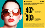 Sunglass Hut: Sunglasses 30% off One Pair, 40% off When Buying Two - Friends and Family Voucher