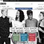 ASOS Spend & Save $20 off $130, $30 off $175 or $40 off $200