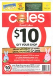 $10 off Your COLES Shop - Min Spend $100 or More WA Forest Lakes ONLY