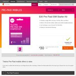 Telstra $30 Prepaid Starter Kits for $10 Online + Free Delivery