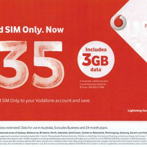 Vodafone Red SIM Only— $35/Mth Unlimited Calls/Text, 3GB