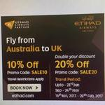 Etihad Airways 10% & 20% off Flights