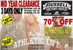 Russell Athletics Factory Outlet Sale (Melb)
