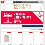 Uniqlo 12 Days of Xmas, Day 4 (4/12): Premium Linen Shirts $29.90, Was $49.90 | Day 5 (5/12): Pyjama Pants $9.90 Mostly 50% off