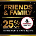 Foot Locker 25% off for Friends & Family, in Store