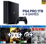 PlayStation 4 Pro 1TB Black Console + 4 Games $474.05 Delivered @ EB Games eBay