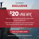 Ray's Outdoor Members - $20 Voucher (Via Email & Members Only)