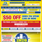 $50 off When You Spend $300 @ 2ndsWorld This Weekend