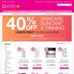 Priceline - 40% off Skincare, Suncare and Tanning (Starts Tuesday 19/6)