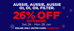 26% off Australia Day Weekend (26/1-28/1) @ Repco
