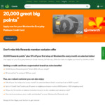 Woolworths Credit Card 20000 Bonus Points, No Annual Fee for Life And 10% off First Shop Every Month