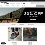Saucony 20% off Sitewide (Includes Already Reduced Sale Products). Free Shipping on $100 Spend